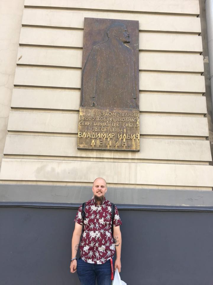 Me, in front of a building which housed Lenin and his secretary during the soviet times.